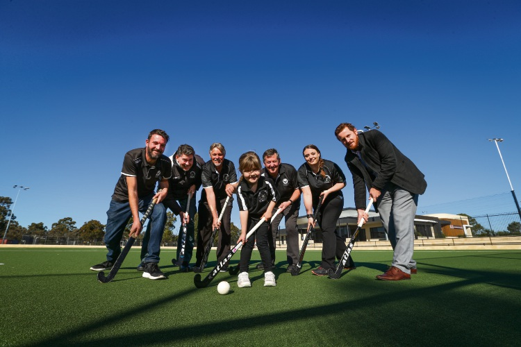 Jada Allan (4) with Fremantle Hockey Club's Matt Allan (Men's vice president), Duncan Faulds (Senior Committee Member), Darrel Bruse (Bar Manager), Andrew Robertson (Life member/Project manager), Lill Raine (Media & Marketing) and City of Cockburn's Travis Moore (Manager Recreation and Community Saftey). Picture: Andrew Ritchie. d495290