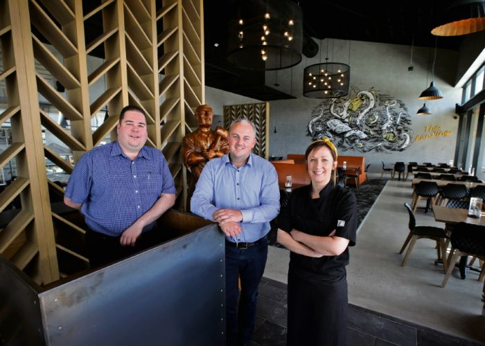 The Landing venue manager Adam Polsen, bar manager Matthew Grayer and head chef Danielle Thatcher getting ready to open the venue to the public. Pictures: David Baylis www.communitynews.com.au d495499