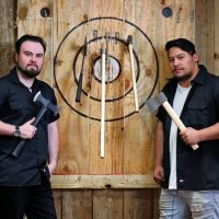Maxed Out Axe Throwing owner Simon Gray and co-founder Lyric Erceg. Picture: David Baylis www.communitypix.com.au d495659