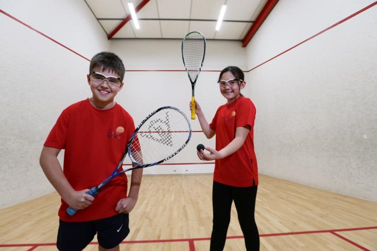 Vic Park squash club junior members Kyle Skidmore (10) and Jasmin Legge (11). Picture: Andrew Ritchie www.communitypix.com.au d494718