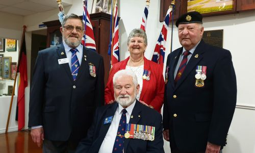Cockburn RSL president Digger Cleak (seated) with (L-R) Tiny Small, Kay Cleak and Arthur Stanton.