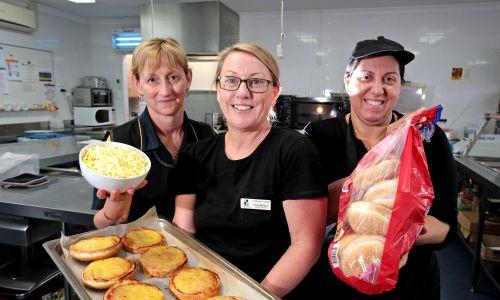 St Norbert canteen staff L-R: Cheryl Curtis of Forrestfield (Cafe Assistant), Cindy McIntyre of Baldivis (Cafe Manager) and Assunta Tilli of East Cannington (Volunteer). Photo: David Baylis