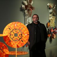 Brian Robinson in the Tithuyil exhibition space at John Curtin Gallery. Picture: Andrew Ritchie d496112