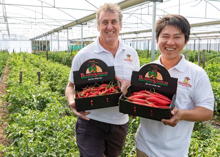 Blazing Saddles director Lance Fitzgerald and farming partner Hung Pham.