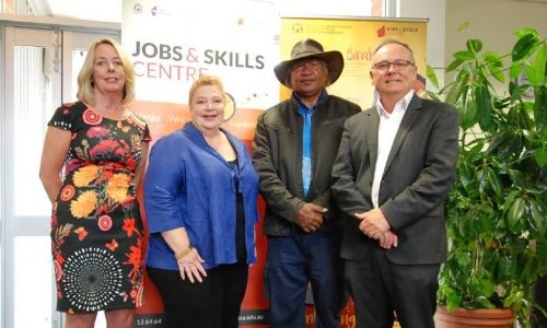 South Metropolitan TAFE managing director Terry Durant, Education Minister Sue Ellery, George Walley and David Templeman.