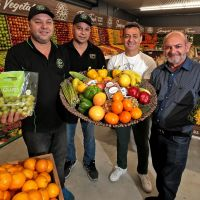 Family Fresh Growers Market fruit and veg manager Tom Saunders, fruit and veg buyer Cleve Saunders, owner Reinaldo Nunes and general manager Alberto Caeiro in their new store at Drovers Market Place in Wanneroo. Picture: David Baylis www.communitypix.com.au d496437