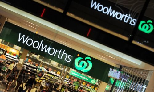 Shoppers leave a Woolworths supermarket in Perth. Picture: AFP Photo/Getty Images