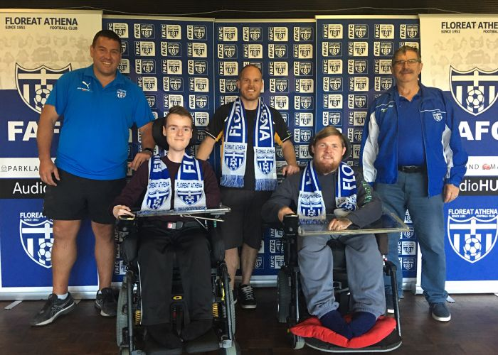 Floreat Athena board member Con Poulios, powerchair football players Dylan Needham, Justin Lattaway and Aidan Jones and club board member Sam Albanis.