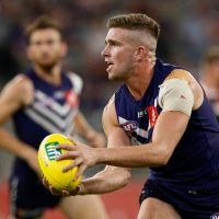 Luke Ryan of the Dockers looks to pass the ball. Picture: Paul Kane/Getty Images