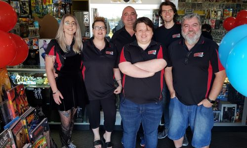 Collector Zone! Comics & Collectables staff Steff Price, owners Sue and Chris Topfer, Alex Barmuta, Mike Jones and Steven Conroy.