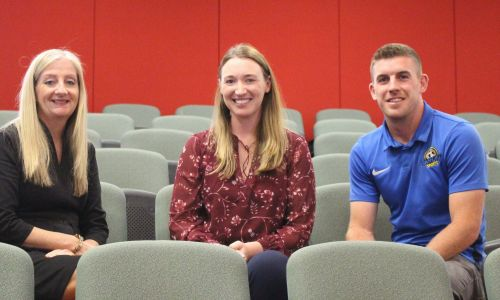 Wanneroo Mayor Tracey Roberts with GreenStalk chief executive and founder Amy Ryan and Target Sports chief executive Josh Whitmore. Picture supplied