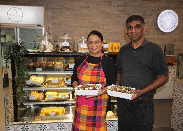 Pinky and Panduka Gunawardena recently opened Galileo Cafes in Joondalup and Butler.