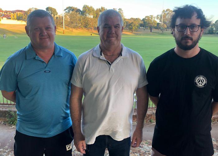 Kingsley Westside Football Club junior president Mark Nelson, interim chairman Rob MacKay and senior president Rob Andrews. Picture supplied