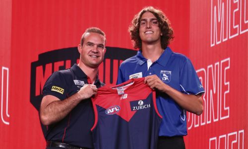 Melbourne's Number 3 draft pick Luke Jackson (right) with Brad Green during the 2019 NAB AFL Draft at Marvel Stadium. (Photo by Michael Willson/AFL Photos via Getty Images).