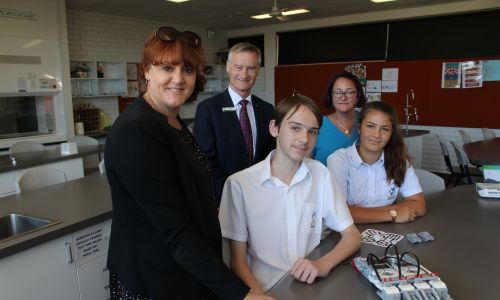 Melville Senior High School deputy principal Alanna Sherwood, principal Phil White and STEM coordinator Sarah Wood with students Sophie Wood and Adam Lewis.