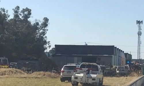 A shed and several vehicles were caught on fire in Morley on Thursday. Picture: Kristie Lim