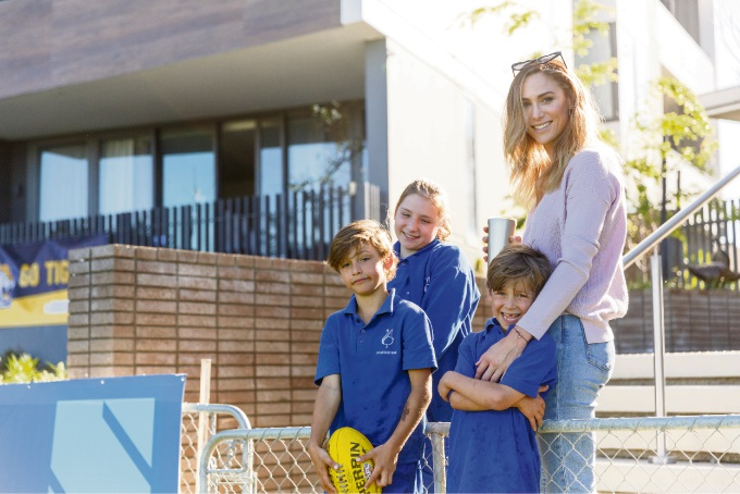 Rayne Bryant and her children Autumn, Lux and Van Embley love living at Claremont by Mirvac.