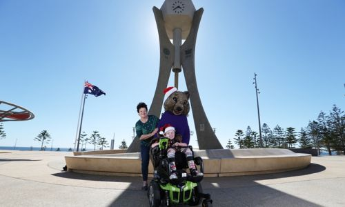 Dexter Stewart, 5, with event organiser Jenny Sampey and Quinn the Quokka. Picture: Andrew Ritchie