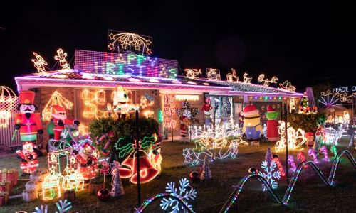 With festive displays inside and out, 102 Riverside Lane, Seville Grove is a must see.