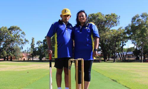 Dylan and Debbie Beresford are proud Kardinya Lakes Cricket Club members. Picture: Aaron Corlett