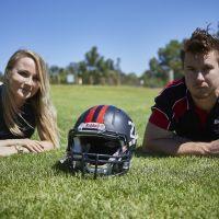 Damien Donaldson (Perth Broncos Coach) and Aleksandra Gozt (PhD Candidate Curtin University). Picture:  Shane Lawrie/BeardySnaps