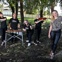 L-R: Tresna Stampalia of Bedford (Flute), Paul Tanner of Bayswater (Xylophone), Ruth Klein Cook of Camillo (Violin), Katie McKay of Golden Bay (Viola) from the Perth Symphony Orchestra with City of Bayswater Deputy Mayor Filomena Piffaretti.  Picture: David Baylis.   www.communitypix.com.au   d497571