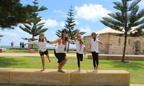 Yira Mar Midar dancers Ivy Cox (8), Belinda Cox, Nataliah Cox Bodney (9) and Chanel Bodney (10).