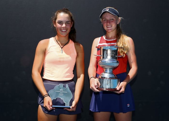 Jessie Culley, of Cottesloe, and Taylah Preston, of Hocking, won the under-14 girls doubles at the Australian Tennis Championships.