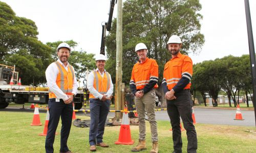 City of Stirling acting chief executive Michael Littleton, mayor Mark Irwin and Western Power representatives Zane Christmas and Graham Downe in Menora. PHOTO: Michael Gill