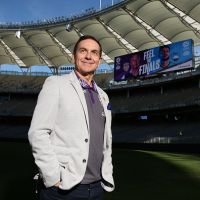 Glory owner Tony Sage poses during a Perth Glory A-League media session at Optus Stadium. Picture: Paul Kane/Getty Images
