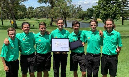Joondalup Golf Club division one boys junior pennant winners Lachlan Hall, Ian Pienaar, Aldrich Potgieter, captain Connor McKinney, Carter Mealing, Gareth Steyn and Tom Addy (Rory Mckinney absent).