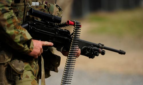 An Australian soldier is seen carrying a Minimi machine gun during training. Picture: Getty Images