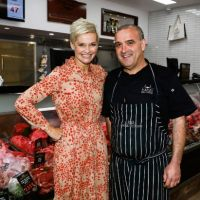Television personality Jessica Rowe and Barbaro Bros Butchers owner Raff Barbaro for the Greatest Butcher on Your Block campaign.