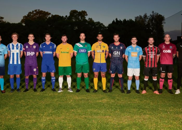 Representatives from each NPL WA team at Dorrien Gardens for the season launch on Monday. Photo: Supplied