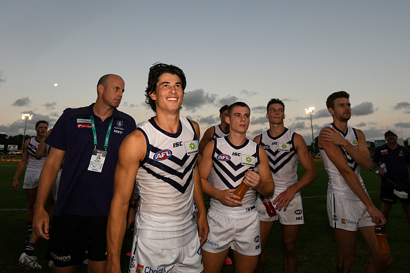 Bailey Banfield of the Dockers is happy with the win during the 2020 Marsh Community Series match. Picture: Daniel Carson/AFL Photos via Getty Images