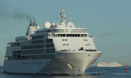 The cruise ship Silver Whisper heads into Fremantle Harbour to refuel yesterday. Photo: Getty