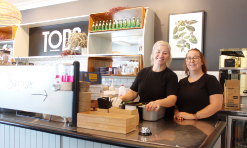Tods Café manager Mel Quatember and lead barista Jessica Miller. Photo: Jake Dietsch