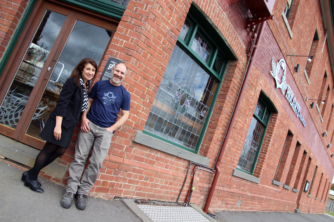 Paul and Natasha outside the recently refurbed Holgate Brewhouse
