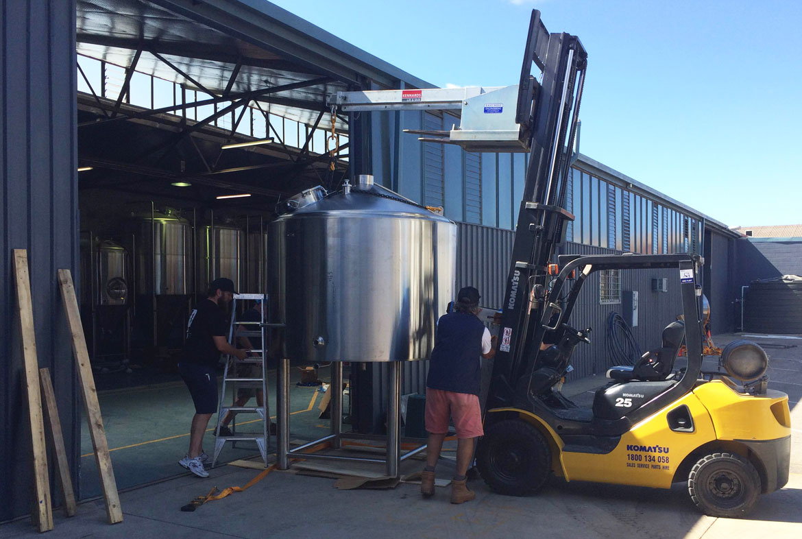 Moving the Pirate Life brewery into place
