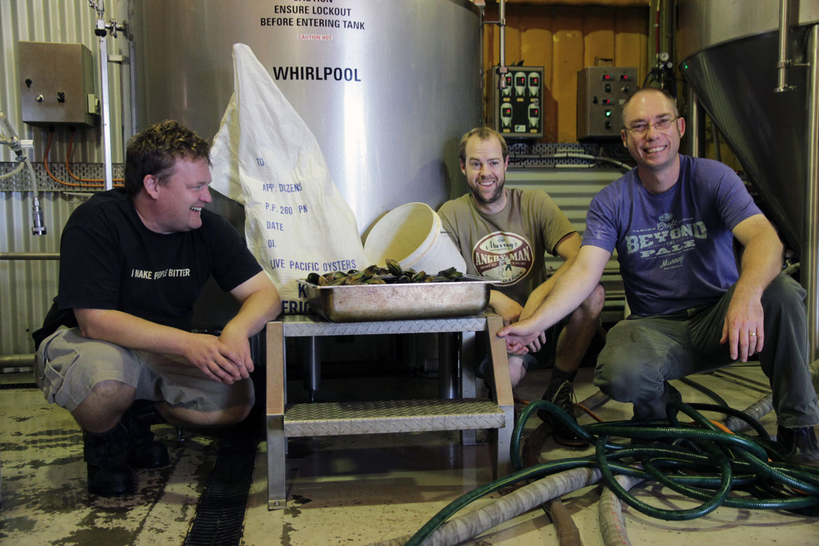 Shawn Sherlock with his brewing team on the Bicep 2013 brew day