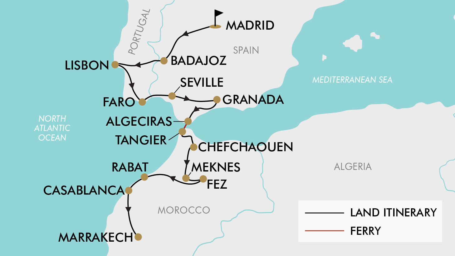 Detailed Map Of Spain Portugal And Morocco.Spain Morocco Travel Itinerary Joshymomo Org
