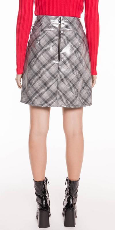 Skirts | Coated Check Mini Skirt