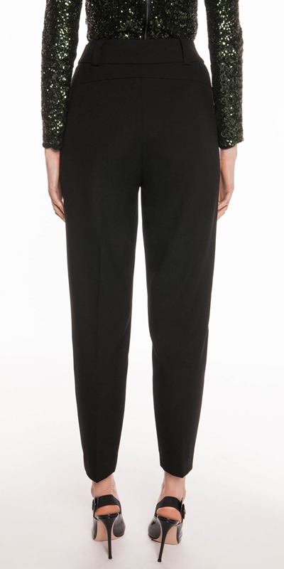 Pants | Black Crepe Tapered Trouser