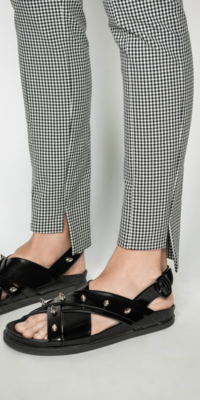 Pants | Gingham Stepped Hem Pant
