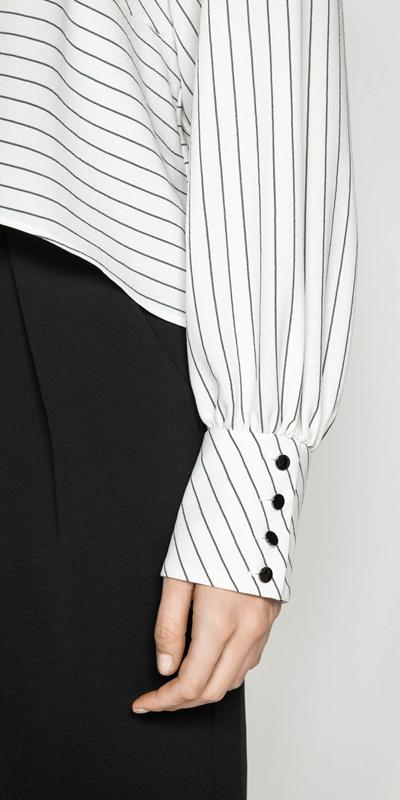 Tops | Pinstripe Blouson Sleeve Top