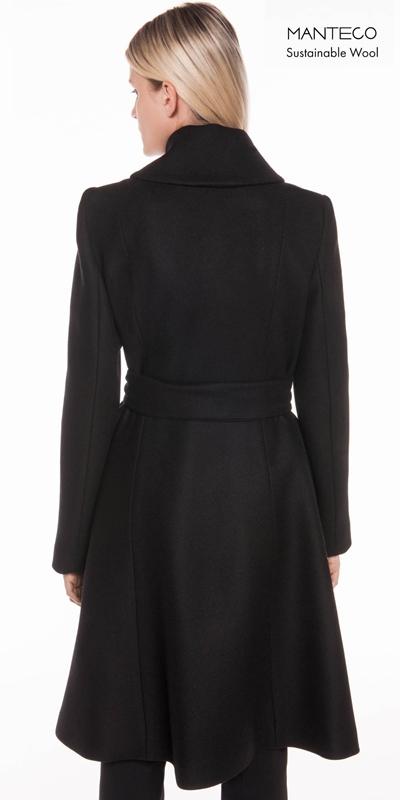 Coats   Black Twill Belted Coat