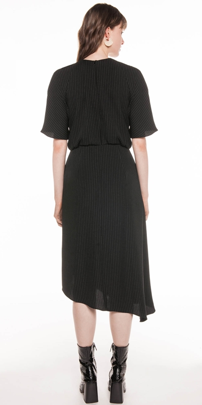 Dresses | Pinstripe Asymmetric Dress