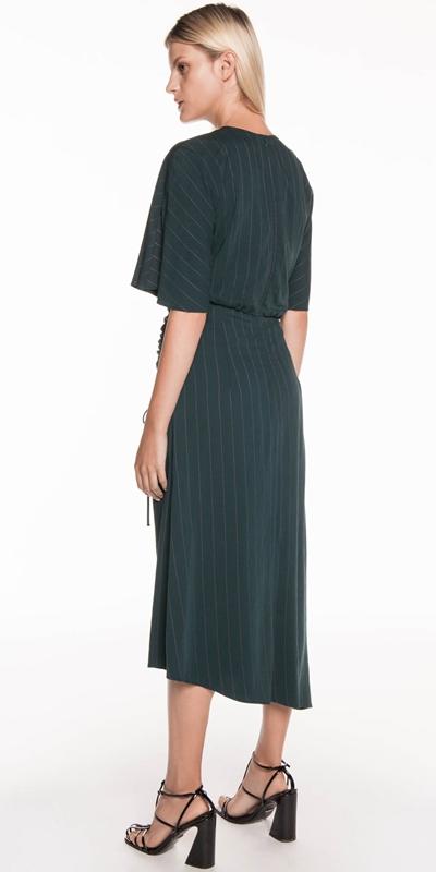 Dresses | Twill Pinstripe Kimono Sleeve Dress