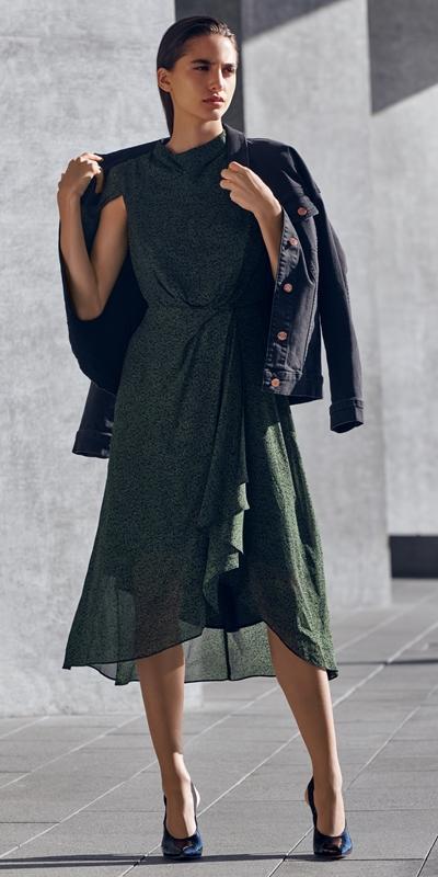 Dresses   Python Draped Waist Dress