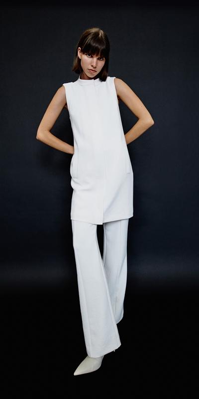 Dresses | Ecru Stand Collar Dress